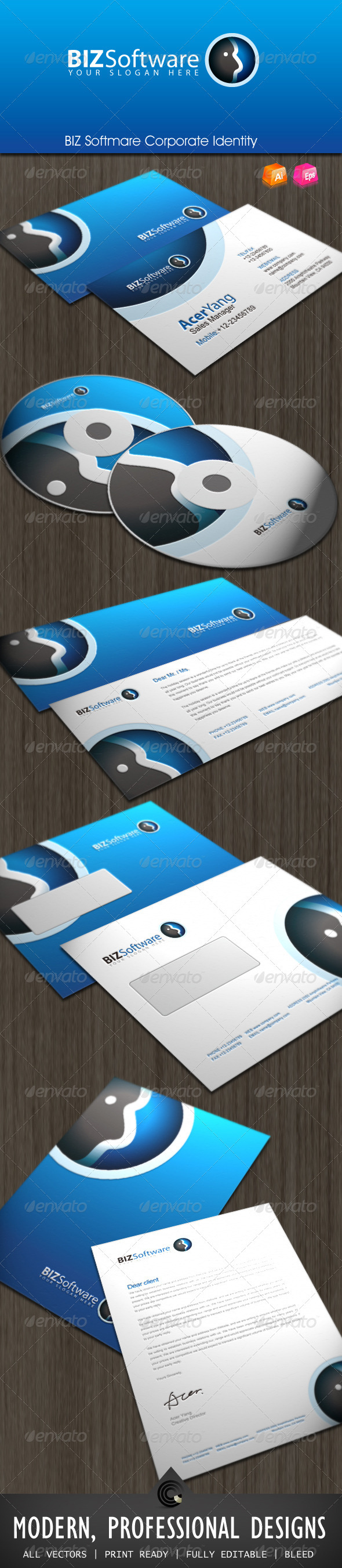BIZ Softmare Corporate Identity - Stationery Print Templates