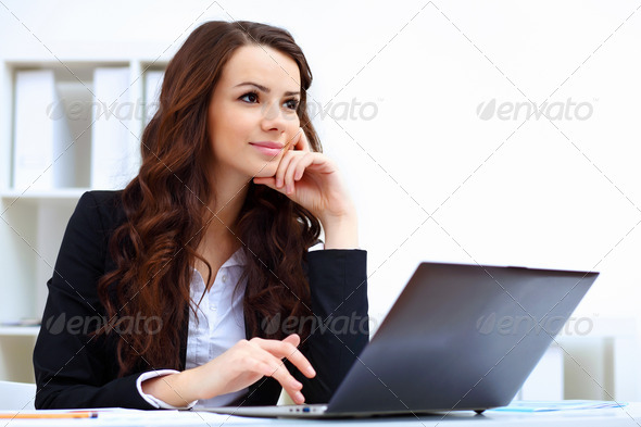 Young busines woman with notebook - Stock Photo - Images