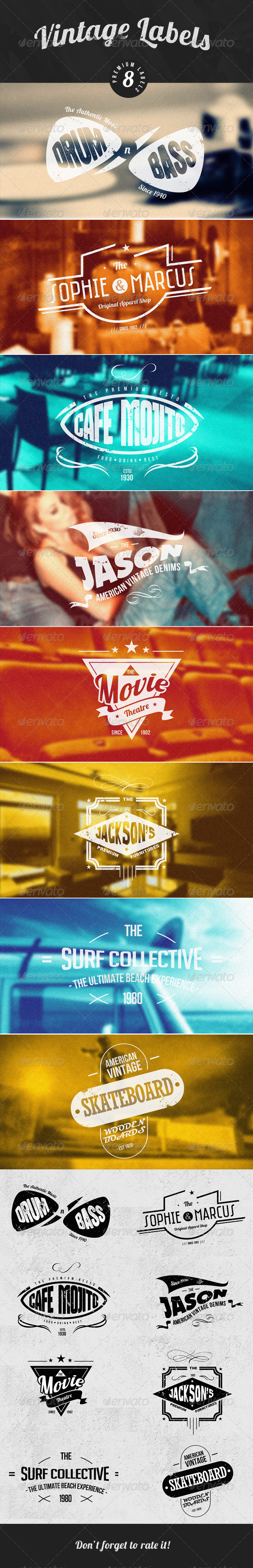 Vintage Logos / Badges / stickers V1 - Badges & Stickers Web Elements