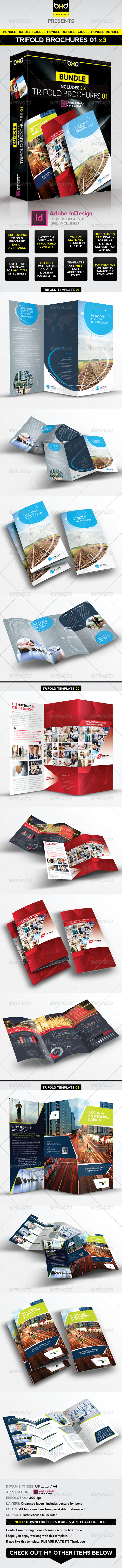 Trifold Brochures Bundle - InDesign Layout 01 - Corporate Brochures