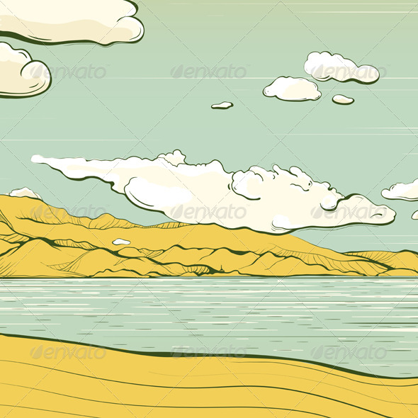 GraphicRiver Landscape Background with Clouds and Mountains 5135391