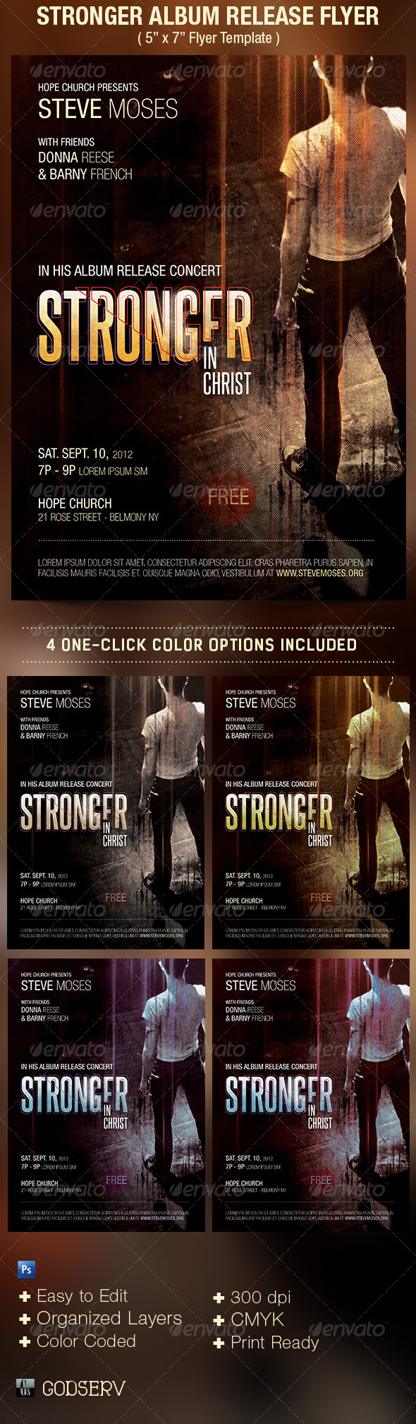 Stronger Album Release Flyer Template - Church Flyers