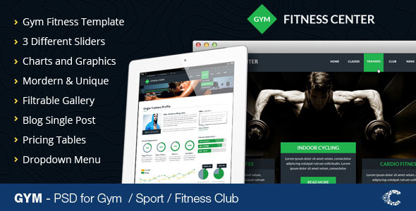 GYM - Sport Fitness Club PSD Template