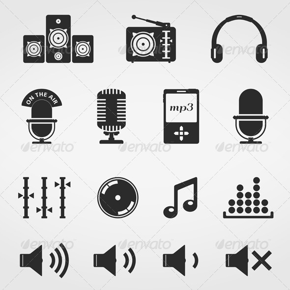GraphicRiver Music and Sound Icons 5136606