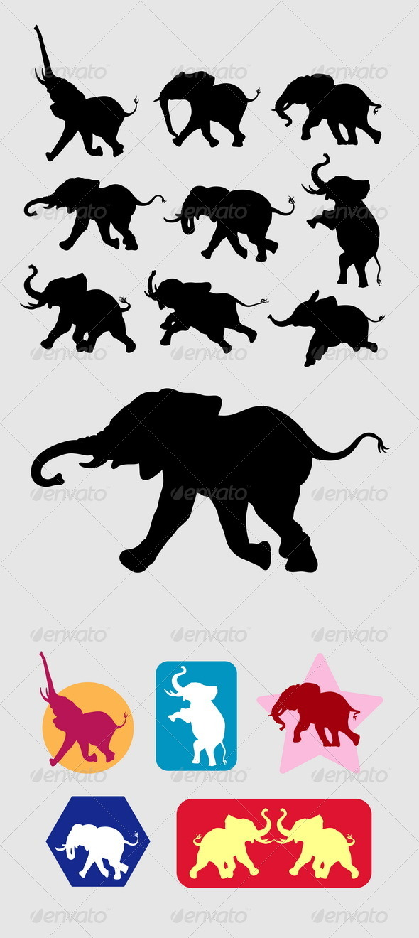GraphicRiver Elephant Running Silhouettes 5137254