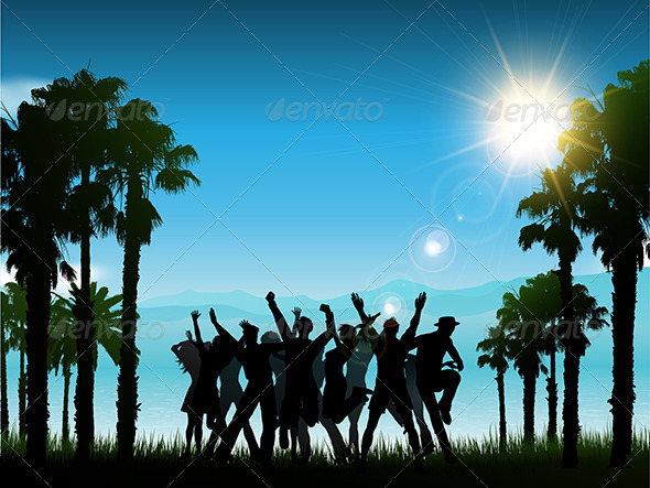 GraphicRiver Party People in Tropical Landscape 5138718