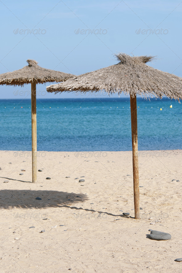 Thatch Beach Umbrellas  - Stock Photo - Images