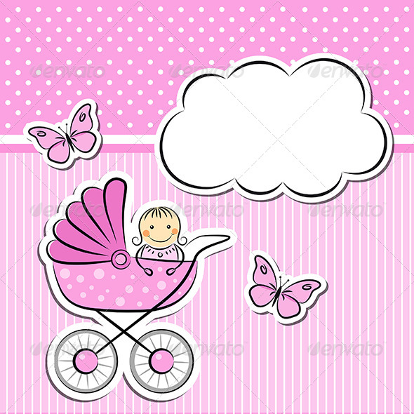 GraphicRiver Baby Girl Arrival Announcement 5141213