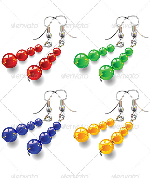 Vector set women's jewelry, earrings with stones - Man-made objects Objects