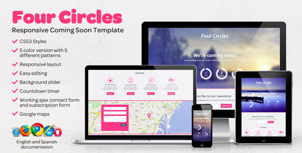 ThemeForest Four Circles Responsive Coming Soon Template 5125846