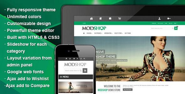 ThemeForest Modshop Responsive Prestashop Theme 5095795
