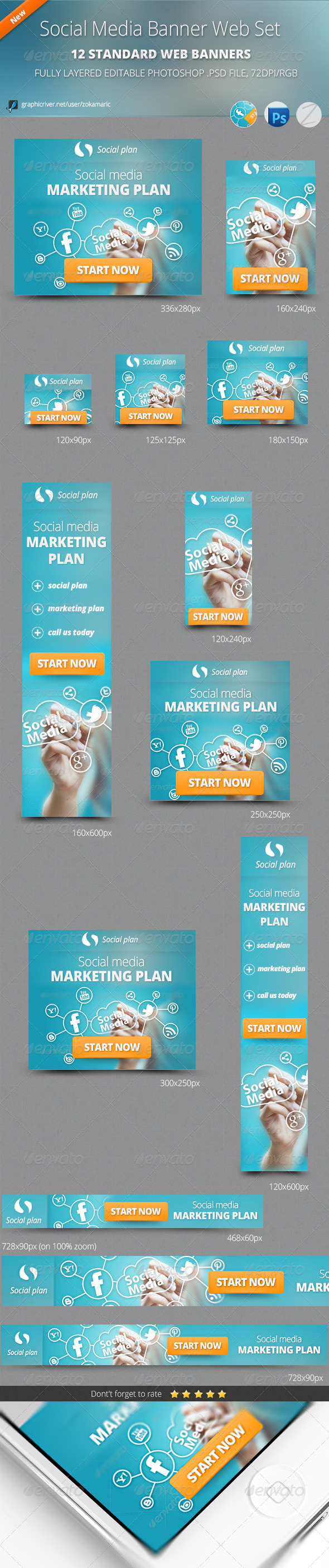 Social Media Banner Web Set - Banners & Ads Web Elements