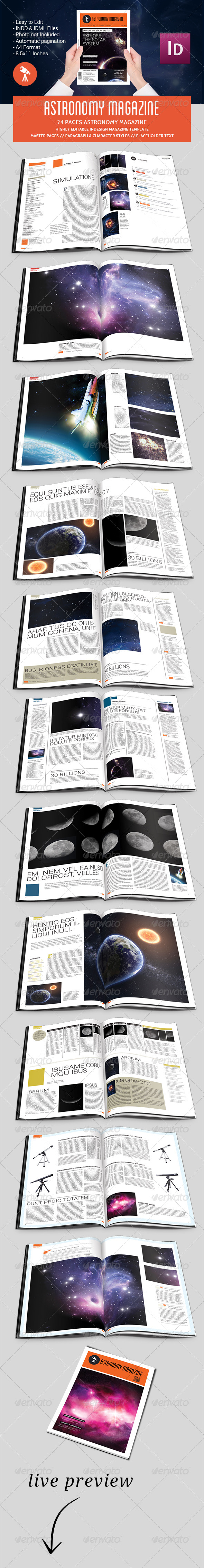 GraphicRiver Astronomy Magazine Template 5082744
