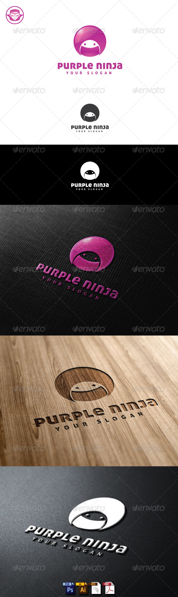 GraphicRiver Purple Ninja Logo Template 5150214
