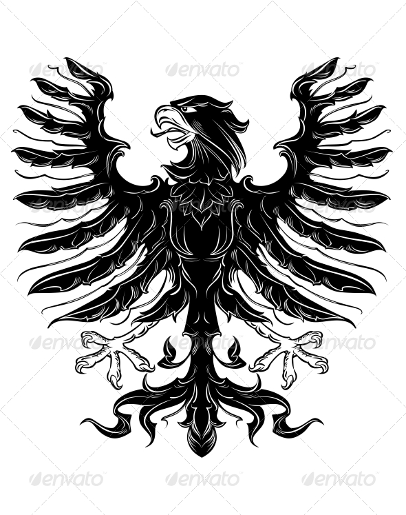 Black Heraldic Eagle - Animals Characters