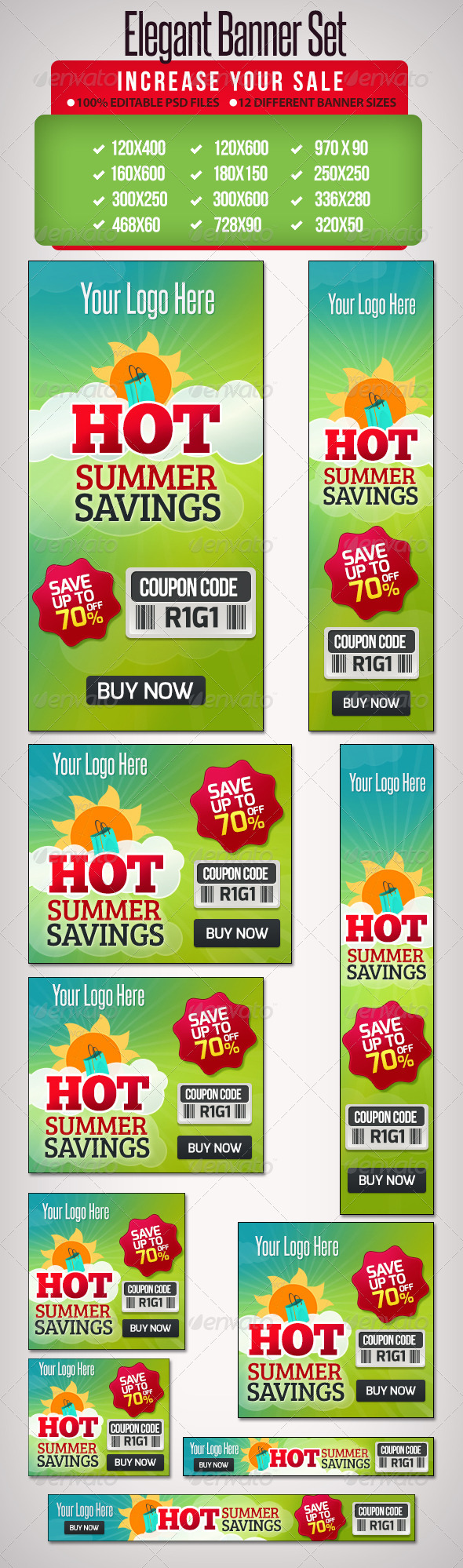 GraphicRiver Summer Savings Banners Google pack banner set 5150700