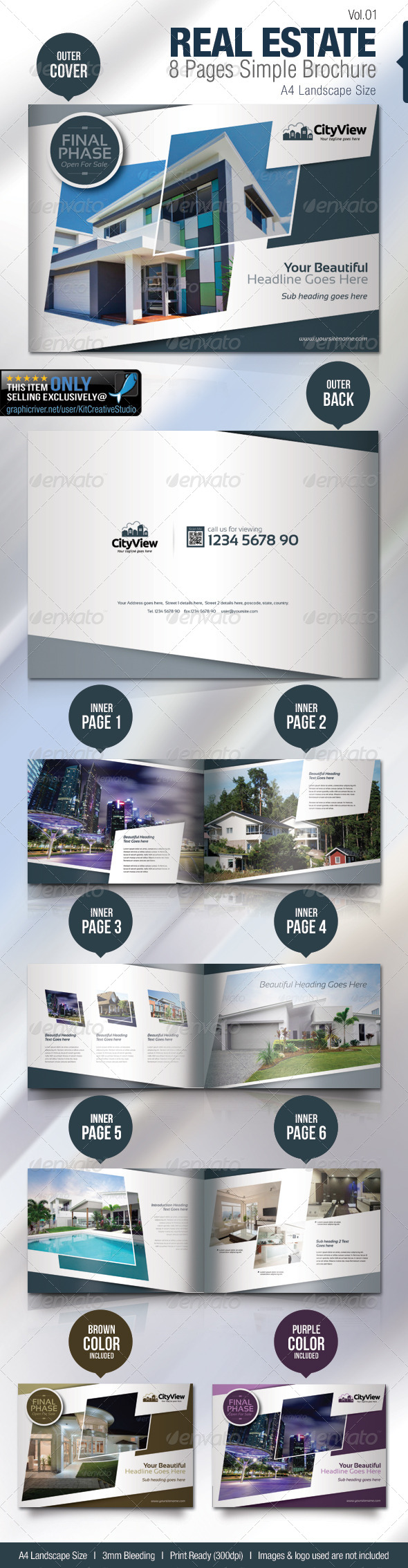 GraphicRiver Real Estate 8 Pages Simple Brochure 5150842