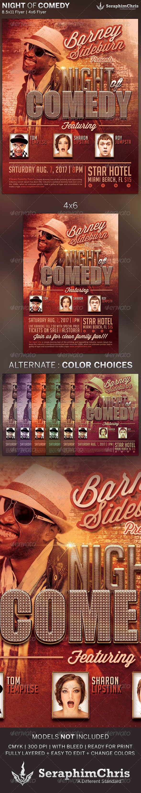 GraphicRiver Night of Comedy Flyer Template 5150855
