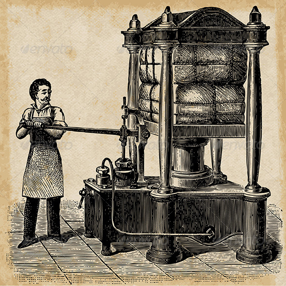 GraphicRiver Hydraulic Press Sketch from 1895 5150983
