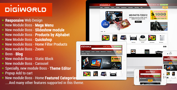 ThemeForest Premium Responsive OpenCart Theme Digital World 5151025