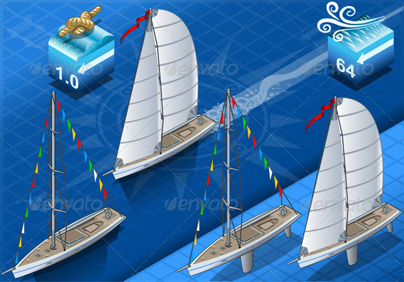 GraphicRiver Isometric Sailships in Navigation and Regatta 5144141