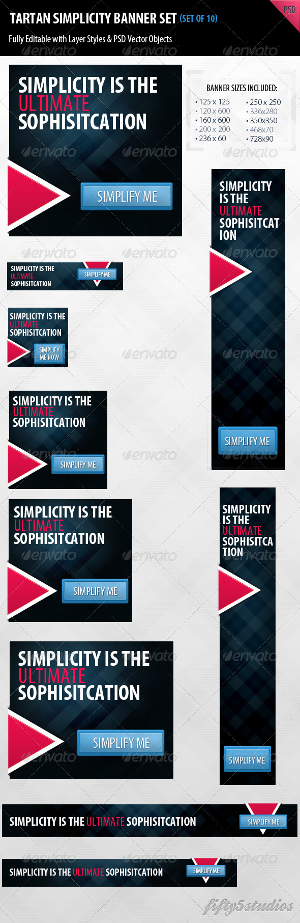 Tartan Simplicity Banner Set - Banners & Ads Web Elements