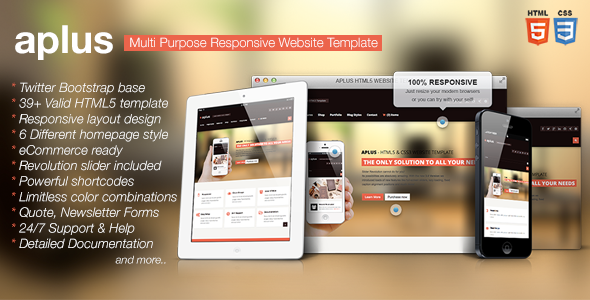 ThemeForest APLUS Multi Purpose HTML5 Website Template 5157081
