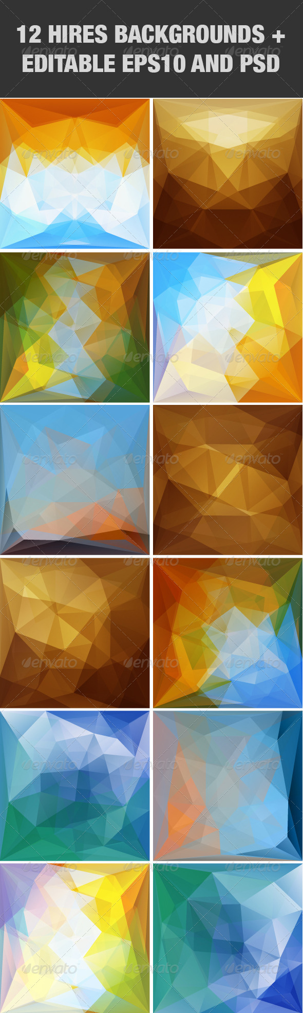 GraphicRiver Abstract Triangular Backgrounds Set 5139082