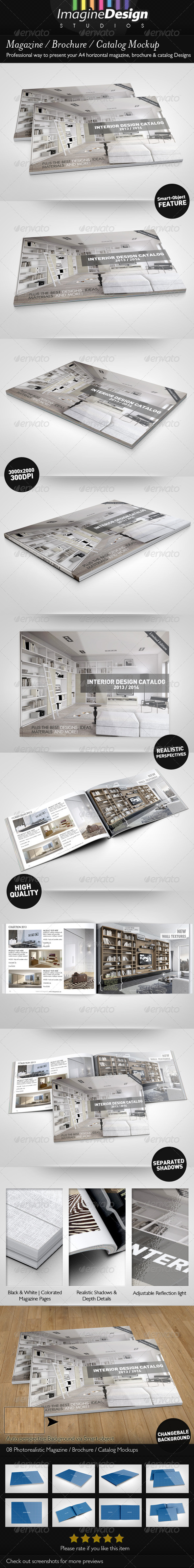 Magazine / Brochure / Catalog Mock-Up - Print Product Mock-Ups
