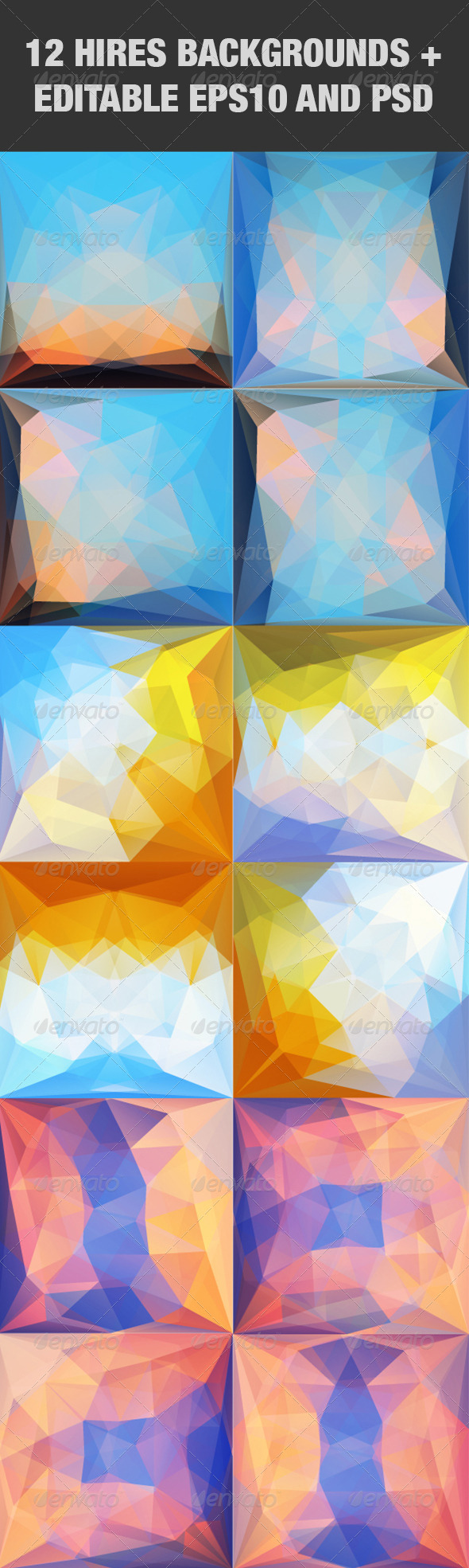 GraphicRiver Colorful Abstract Triangular Backgrounds Set 2 5158535