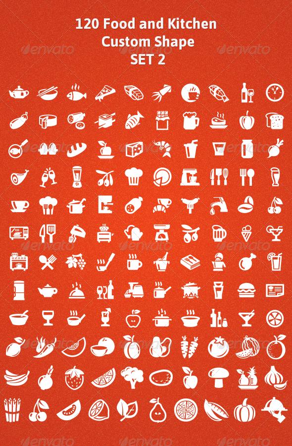 GraphicRiver 120 Food and Kitchen Custom Shape Set 2 5159667