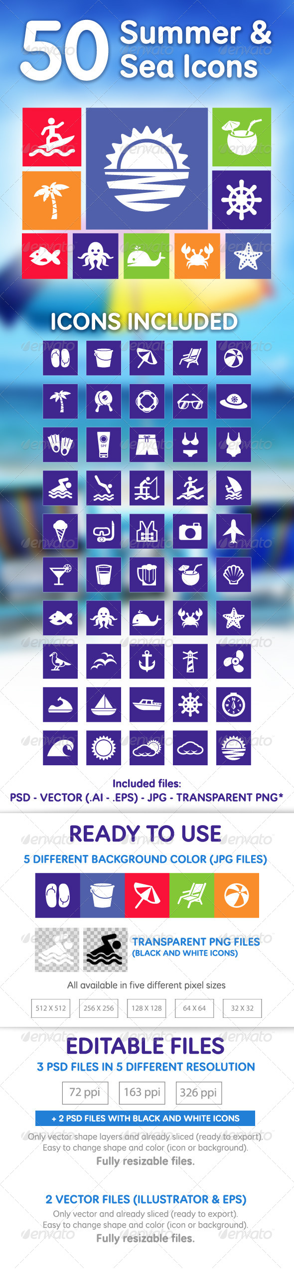 GraphicRiver 50 Summer & Sea Icons 5159753