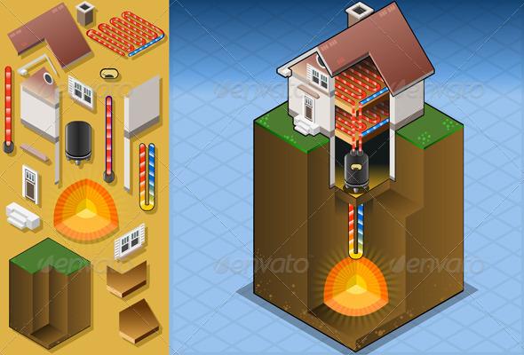 GraphicRiver Isometric Geothermal Heat Pump Diagram 5161036