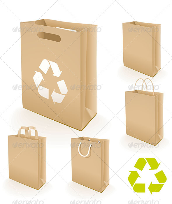 GraphicRiver 5 Recycling Paper Bags 5161099