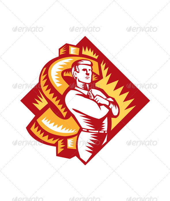 GraphicRiver Businessman Arms Folded Protect Dollar Woodcut 5161408