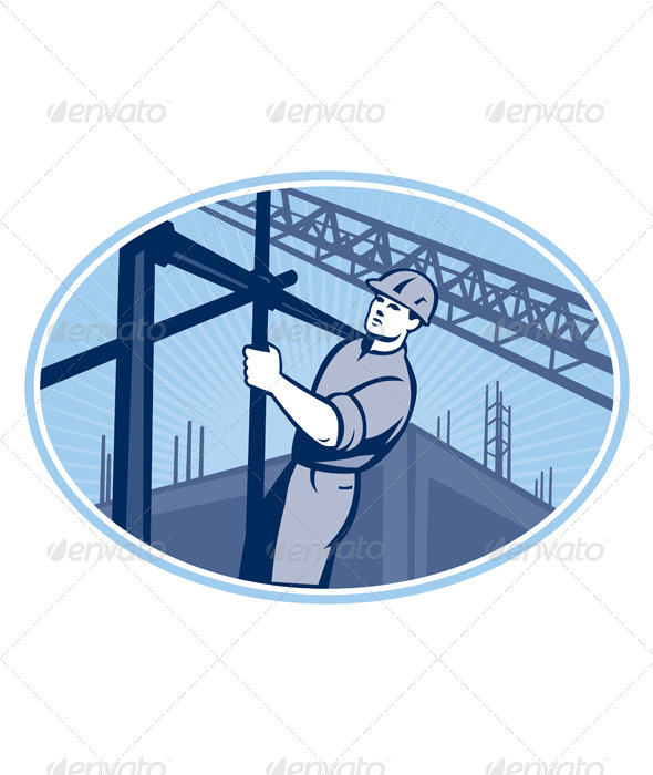 GraphicRiver Construction Worker Scaffolding Retro 5161451