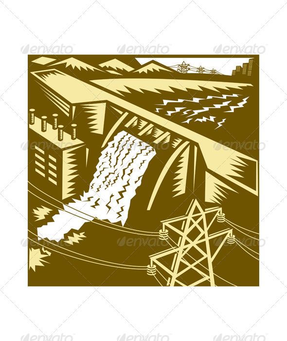 GraphicRiver Hydroelectric Hydro Energy Dam Woodcut 5161589