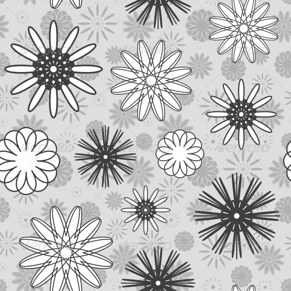 GraphicRiver Gray Flowers Seamless Pattern 5163830