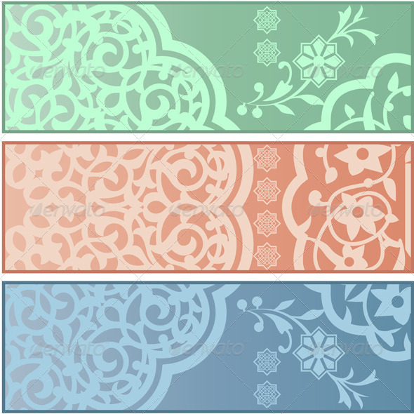 GraphicRiver Banners with Islamic Ornaments 5163875