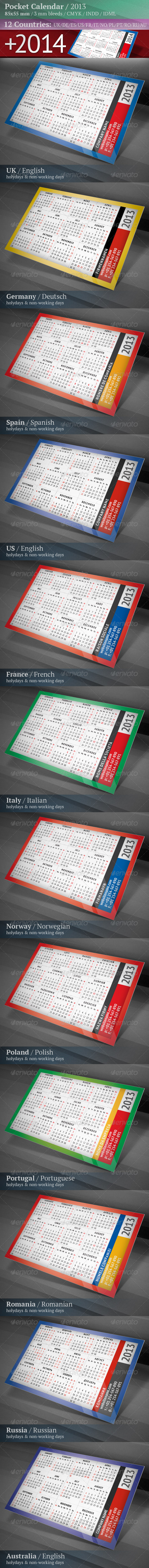 GraphicRiver Pocket Calendar 2013 & 2014 Multilingual 3496811