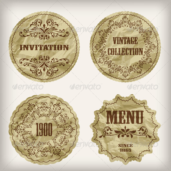 GraphicRiver Vector Vintage Golden Labels 5165978