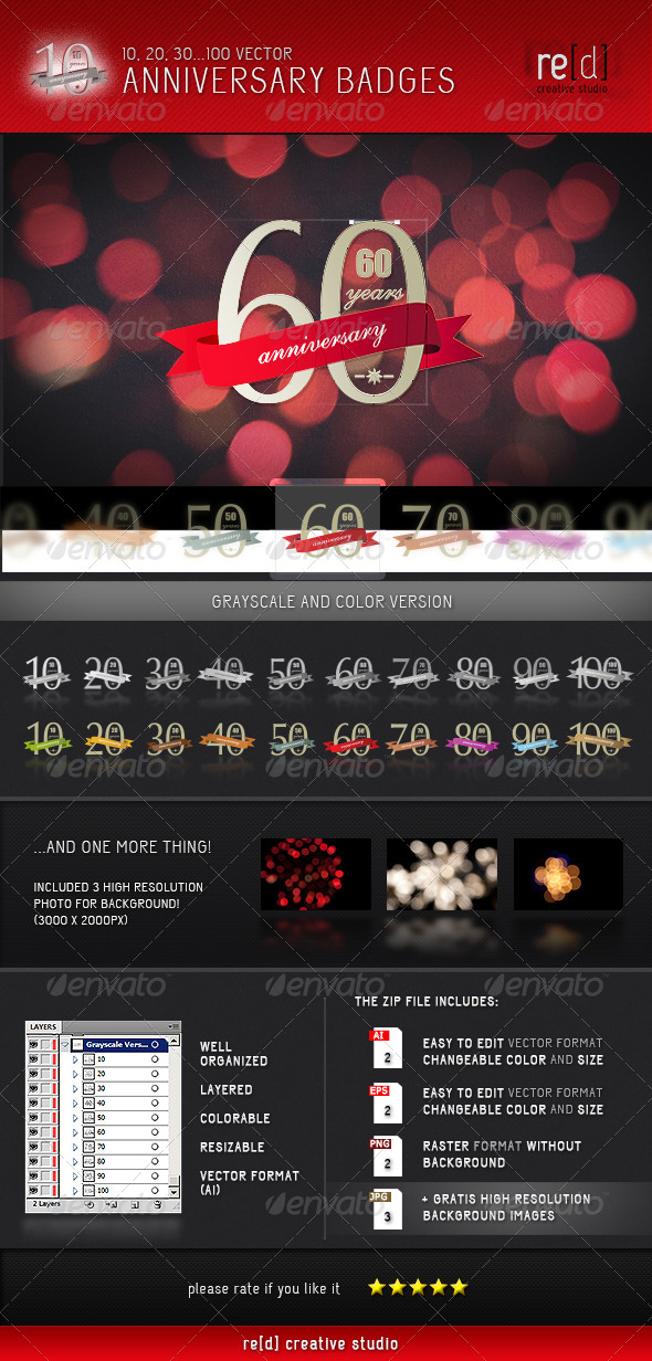 GraphicRiver Anniversary and Birthday Badges 5159405