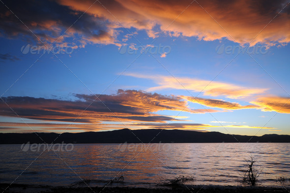 Sunset at Lake - Stock Photo - Images