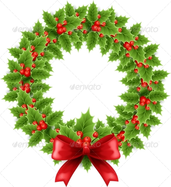 GraphicRiver Christmas Holly Wreath 5167691