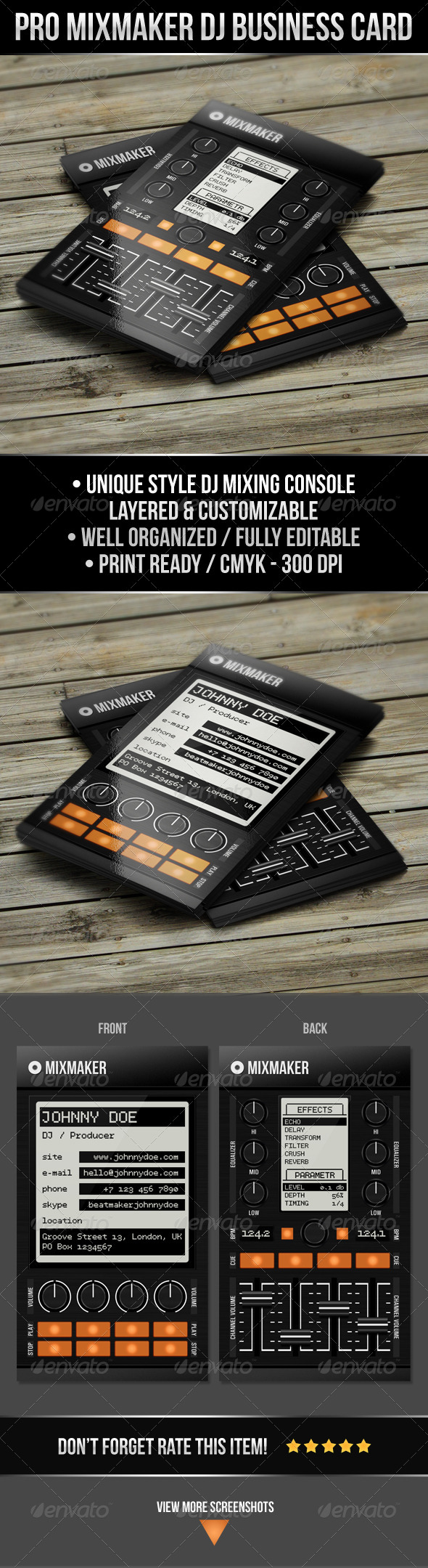 Pro Mixmaker DJ Business Card - Industry Specific Business Cards