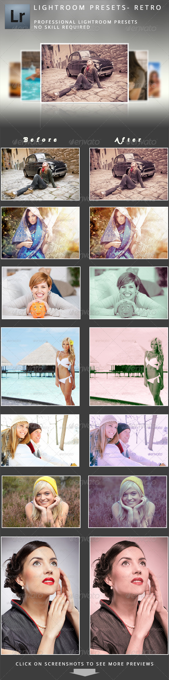 GraphicRiver 50 Retro Lightroom Presets 5151266