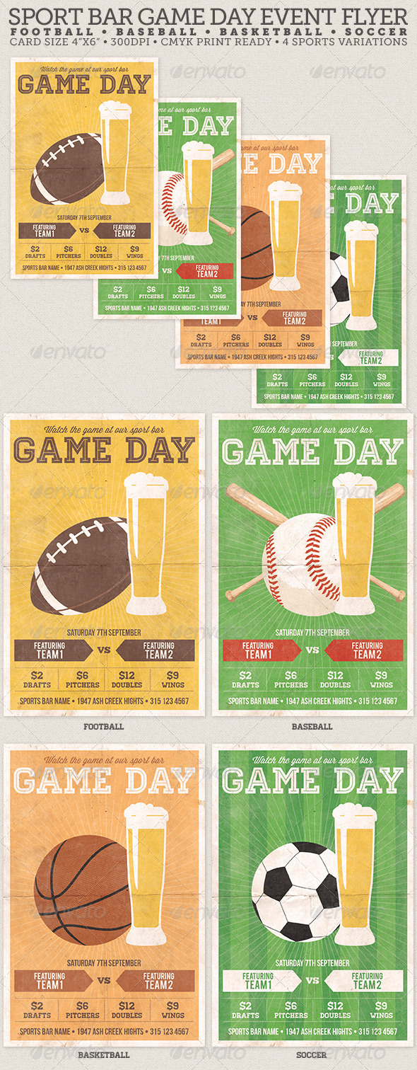 GraphicRiver Game Day Sport Bar Flyer Template 5168979