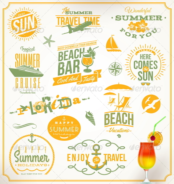GraphicRiver Set of Travel and Vacation Emblems and Symbols 5168990