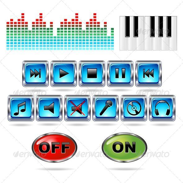 GraphicRiver Music Icons Record Symbols Buttons 5169513