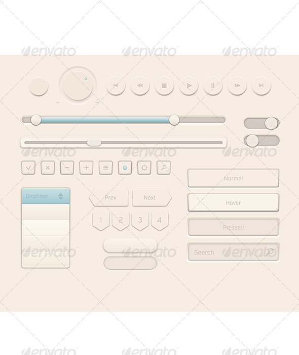 GraphicRiver Cream Style User Interface Elements 5164407